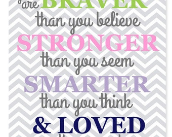 Nursery Decor, Always Remember You Are Braver Than You Believe, Stronger Than You Seem, Smarter, Loved, Winnie The Pooh Quote, Inspirational