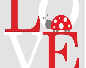 Love Nursery Art Print Girl's Room Decor Ladybug Nursery Red Gray White Canvas Art Children Baby Shower Gift Playroom Toddler Bedroom