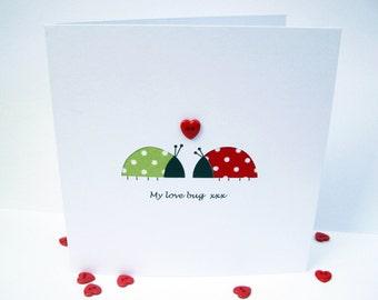 Valentine Card - Love Bugs - Funny Card - Paper Cut Valentine's Day Card - Handmade Greeting Card - Anniversary Card - Romantic - Cute Card