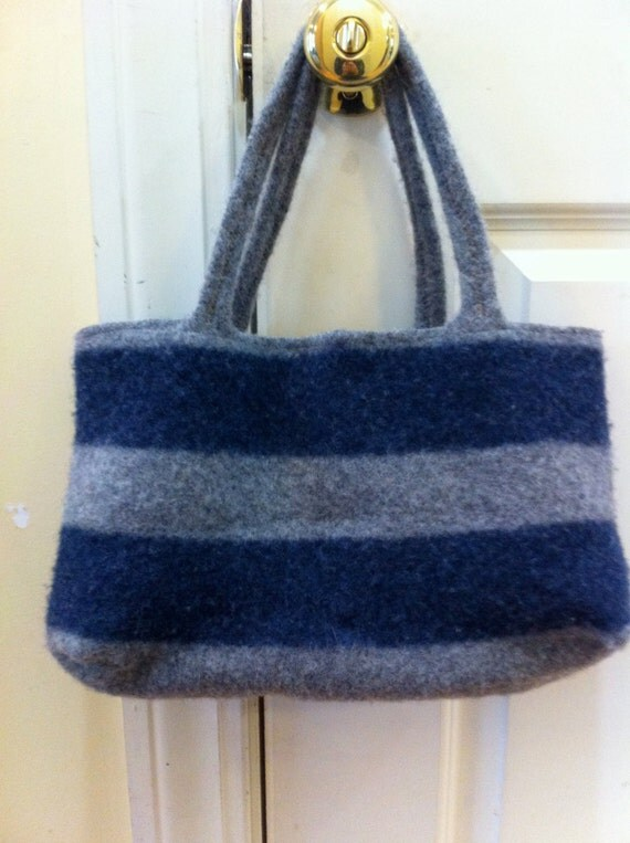 Upcycled Recycled Repurposed Gray and Blue Felted Wool Sweater Purse, Tote, Eco-Friendly Gift