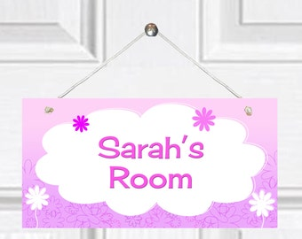 Personalized Child's Door Sign -  Flower Theme
