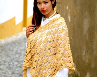 Marvelous Natural Cotton and Linen Handmade Crochet Poncho