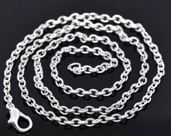 """Silver Plated Cable Link Chains - 18"""""""