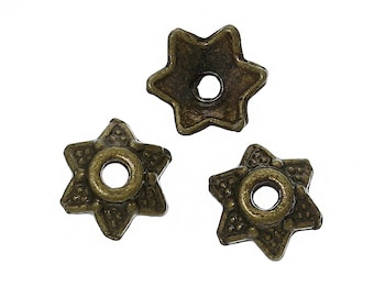 Antiqued Bronze Flower Bead Caps - 6MM
