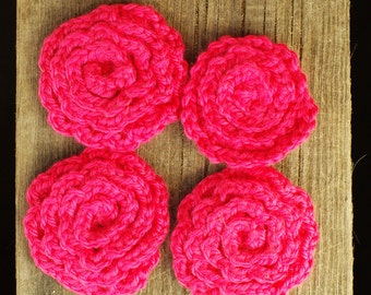 Four pink Flower Face Scrubbies, Facial Wash Cloth, Baby Wash Cloth, ecofriendly, Kitchen Dish Cloth, Flower Scrubbies, Make up Remover Pads