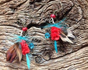 Turquoise and red fly fishing earrings: Southwest colors fly fishing fly earrings, western earrings, trout fly earrings, trout fishing
