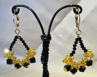Bi-Color Swarovski Crystal Woven Teardrop Earrings