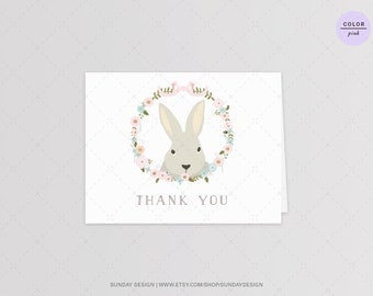 INSTANT DOWNLOAD / Bunny Hop Thank You Card - DIY Printable Digital File - Birthday, Easter party - Baby Flower Wreath