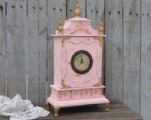 Clock, Shabby Chic, Pink, Gold, French Provincial, Hand Painted, Distressed, French Decor, Wedding Decor, Nursery Decor, Gift for Mom, Wife