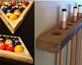 Rustic 8-Ball Pool Rack, 9-Ball Pool Rack, and Rustic Pool Cue Rack Combo -- Made of Red Pine with Natural Edge -- Pool Table Accessories
