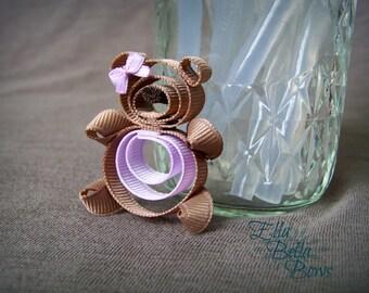 Teddy Bear Ribbon Sculpture Hair Clip