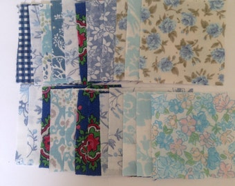 50 Fabric Squares, Vintage Fabric, New Fabric, Material, Die Cuts, Blue Mix,  Assorted Colours, 2.5 inches, Vintage Haberdashery