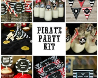Pirate Party Kit with Editable Text w/Invitation, Printable Pirate Party Kit with Invitation, DIY Pirate Party Kit, DIY Kids Pirate Party