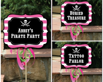 Pink Pirate Party Signs with Editable Text, Printable DIY Pink Pirate Party Signs, Girl Pirate Party Printable Yard Signs W/ Editable Text
