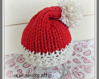 Santa Stocking Hat, Stocking Cap, Santa Beanie, Elf beanie