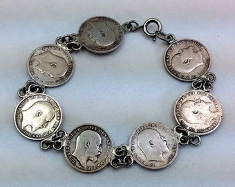 Vintage silver King Edward VII 3 Pence coin bracelet. 7 coins total.