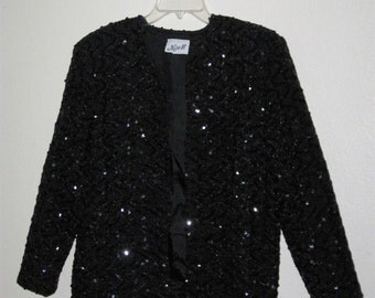 Womens Miss H Black Sequin Lined Jacket - Size Medium (M) with Shoulder Pads