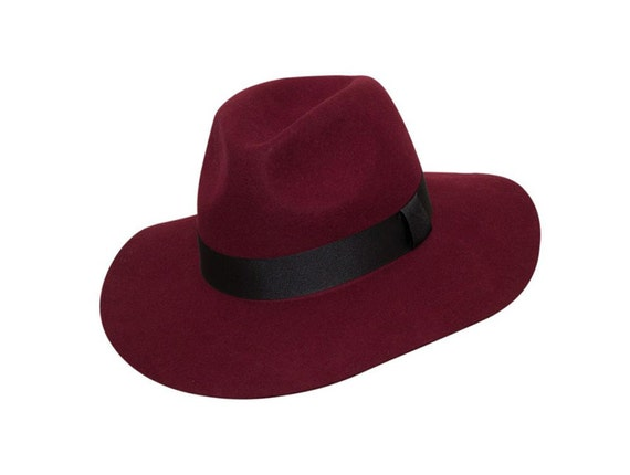 Burgundy Lazy Fedora 100% Wool