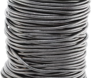 50 Meter Spool of 3MM Natural Black Round Leather Cord (50 Yards) (50m)
