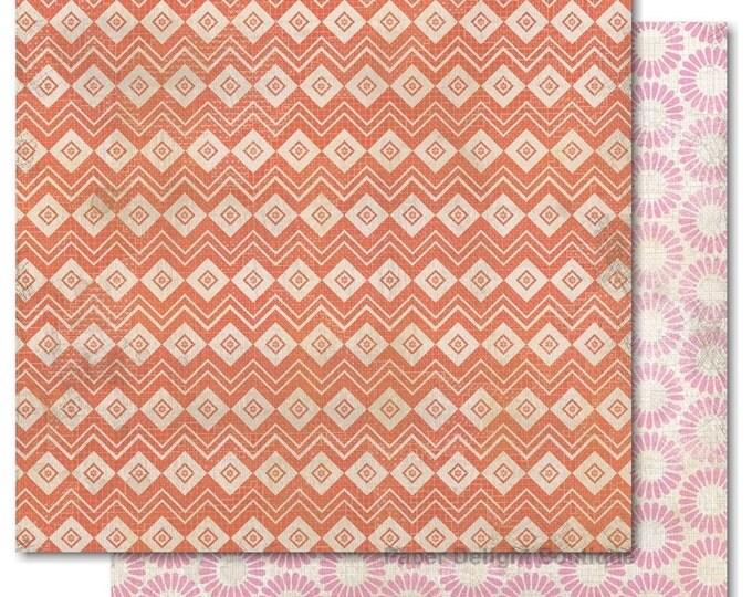 "2 Sheets of My Mind's Eye INDIE CHIC Saffron ""Girl"" 12x12 Scrapbook Paper - Geometric"