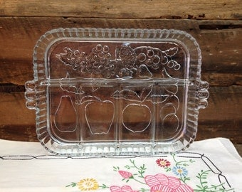 Vintage Handled Relish/Fruit Tray, Clear Glass, Fruit Designs.