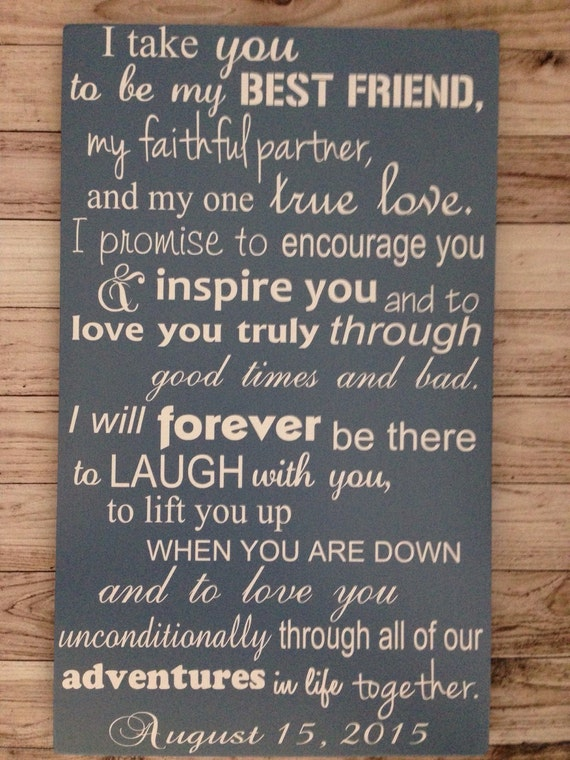 1st Wedding Anniversary Gift For Friend : First Anniversary Gift Wedding Vows Sign 1st Anniversary Gift with ...