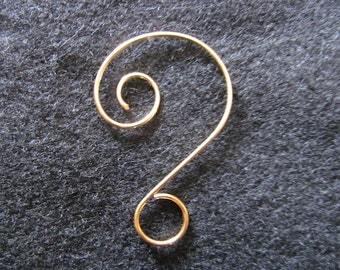 """2"""" 18k Gold Plated Fancy Swirl Wire Hanging Hook, Ornamental Hook, Ornament Hanger, Sun Catcher Hook"""