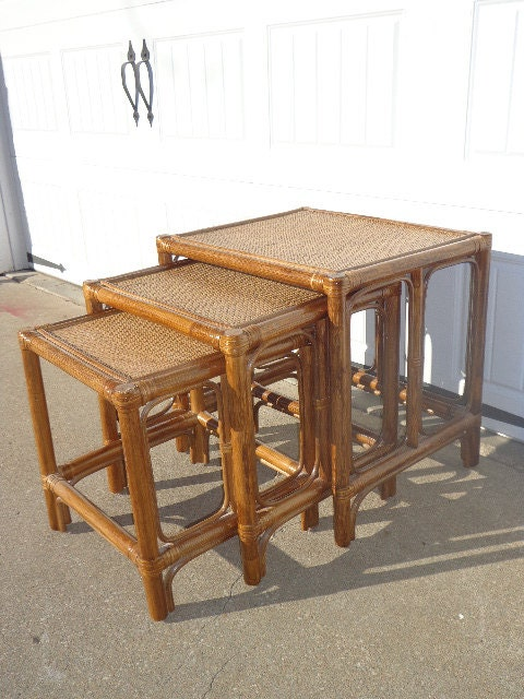 Elegant Set Of 3 Vintage Nesting Tables Faux Bamboo Rattan Chinoiserie Accent Table  Coffee Table Chinese Chippendale Asian Mid Century Miami Beach