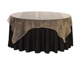 90 inch Square Organza Table Overlay Champagne | Wedding Table Overlays, 90 x 90 Table Overlays