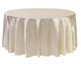 YCC Linen - 120 inch Ivory Satin Round Tablecloth | Wedding Tablecloth