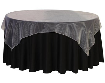 72 inch Square Organza Table Overlay White | Wedding Table Overlays