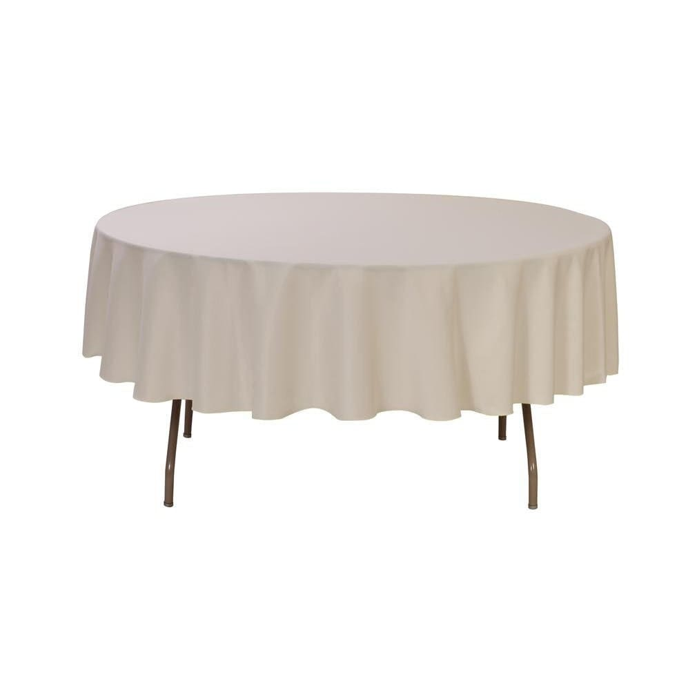 90 Inch Round Polyester Tablecloth Ivory Wedding Tablecloths