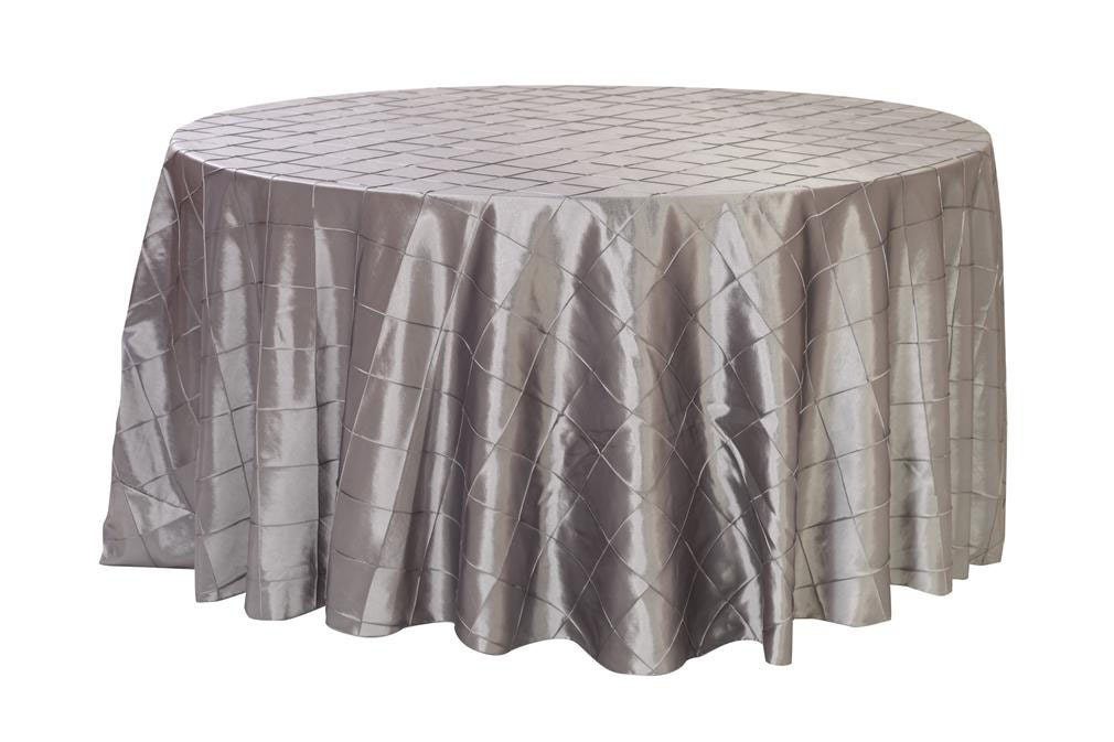 120 inch dark silver platinum pintuck round tablecloth for 120 inch round table cloths