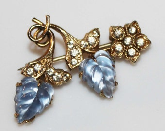 Vintage Pave Rhinestone Lucite Fruit Salad Leaves Pin Brooch-Something Blue-Wedding-Gold Tone-Estate Jewelry