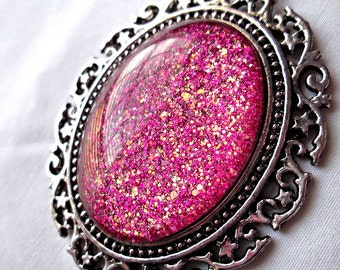Dark Pink Glass Pendant; Hand Painted Glass Oval Pendant Necklace; Glitter Nail Polish Jewelry; Magenta Pendant; Glass Cabochon Pendant