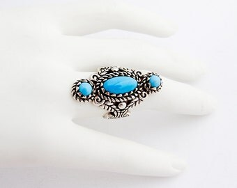 Turquoise Imitation Long Ring Sterling Silver