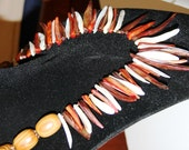 Ethnic Tribal Shell and Wood Dagger Statement Necklace