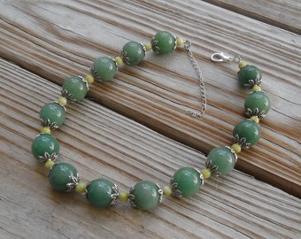 """beaded necklace - green aventurine and chartreuse serpentine - 15.5 in. (39 cm) with 2"""" extender - plus size jewelry"""