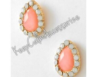 Peach/Pink & White Opal Rhinestone Button / Post Earring Set