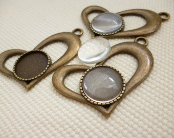 Kit Heart Brass Cameo and Glass Cabochon_RB45055_10PCS_of_14mm