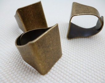 Brass Square Adjustable Base Ring_RB00113_2 pcs_var_Silver or Brass