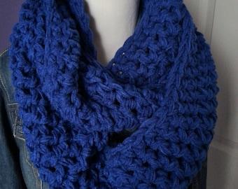 SUPER CHUNKY Crochet Infinity Scarf-Royal Blue