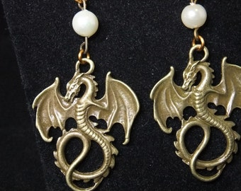 Antique Gold Dragon Earrings with Pearls