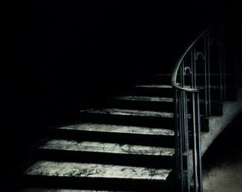 Dark Promise, dark art, eerie moody stairwell, dark surreal photo, black grey, dark staircase, architectural photo, home decor, 8x10 print