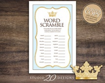 Instant Download Blue Royal Prince Baby Word Scramble, Glitter Prince Baby Shower Games, Printable Crown Theme Word Scramble 66B