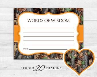 Instant Download Camo Advice Cards, Realistic Hunters Orange Camouflage Words of Wisdom, Camo Baby Shower Games, Camo Advice for Mom 31E