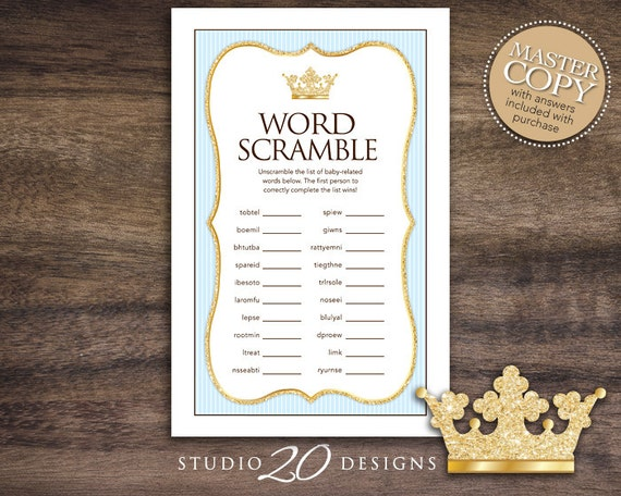 Instant Download Blue Royal Prince Baby Word Scramble Glitter