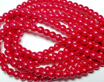 Pink Punch round glass pearls - 6mm