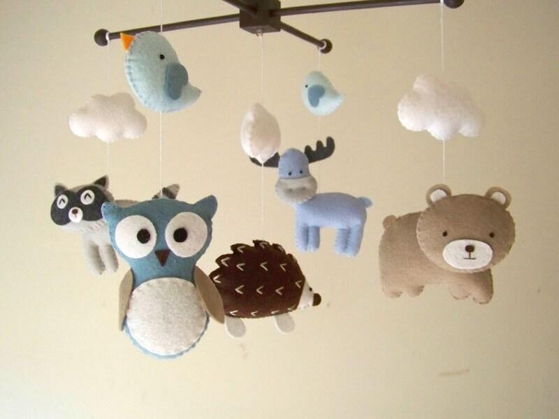 baby crib mobile forest mobile animal mobile felt mobile. Black Bedroom Furniture Sets. Home Design Ideas