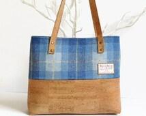 Eco Friendly Cork Bag - Harris Tweed Bag - Scottish Blue Tartan Bag